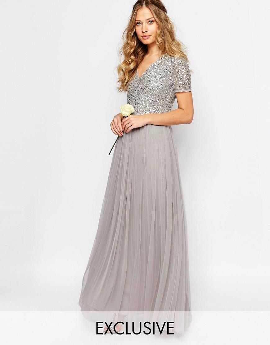 Maya V Neck Tulle Maxi Dress With Tonal Delicate Sequins | Pinterest ...