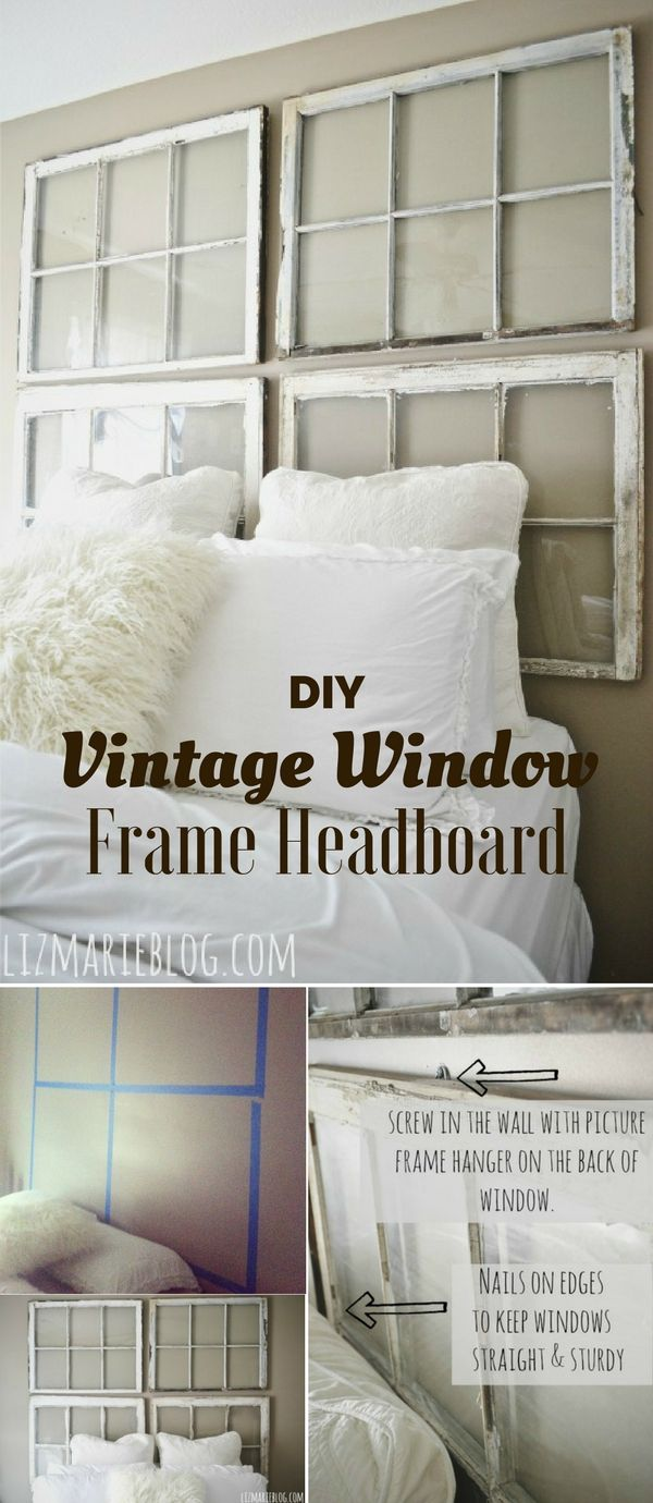 Window headboard ideas   cool rustic bedroom ideas vintage window frame headboard