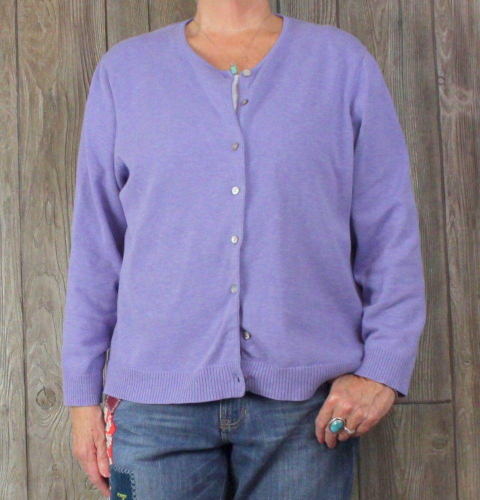 Lands End 2x 20w 22w size Purple Cardigan Sweater Womens Cotton ...