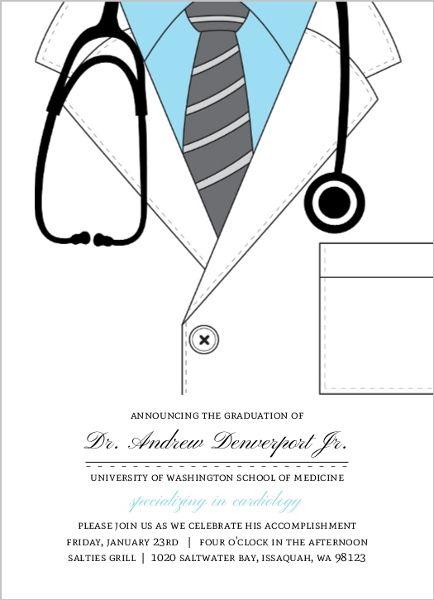 Blue Doctor Coat Medical School Graduation Invitation Medical School Graduation Invitations Medical School Graduation Graduate School Doctor Coat