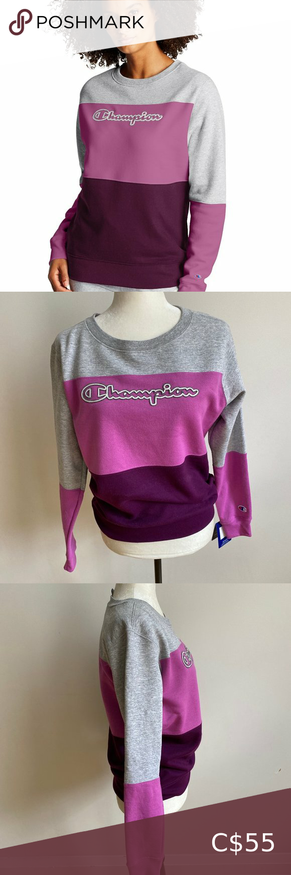 Champion Colourblock Sweatshirt Bnwt Xs Purple Sweatshirts Sweaters For Women Black Champion Hoodie [ 1740 x 580 Pixel ]