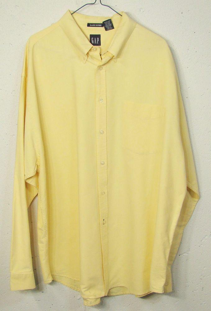 GAP Classic Oxford Mens Yellow Denim Cotton Long Sleeve Button ...
