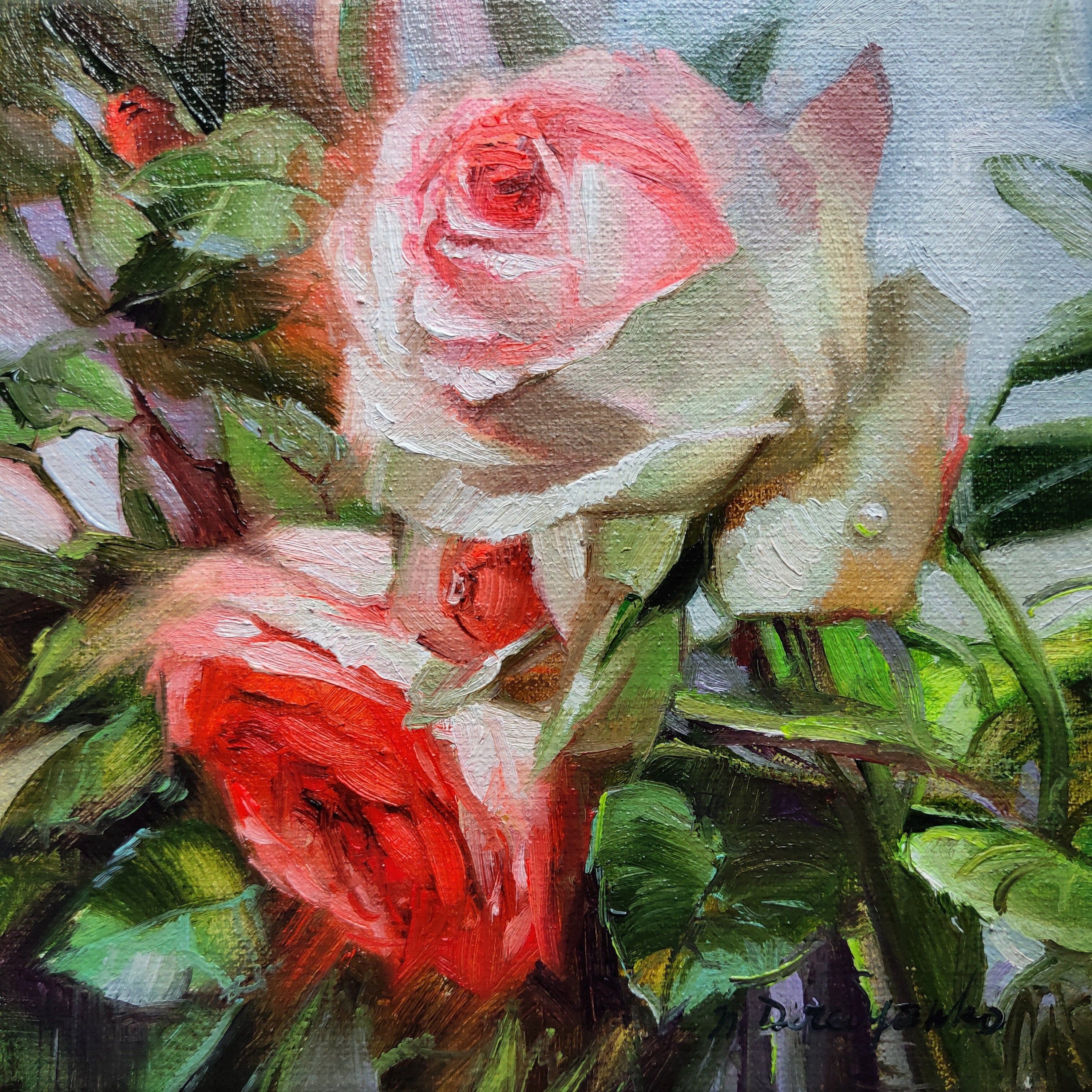Roses Flowers Painting On Canvas Original Flower Rose Art In Etsy In 2020 Rose Art Painting The Roses Red Flower Canvas Art