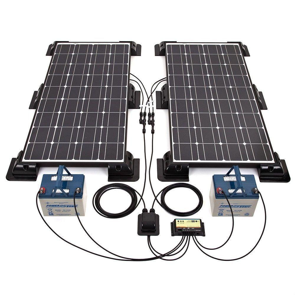 Biard 9W Black Solar Panel Kit with Corner/Side Mounts & 9A