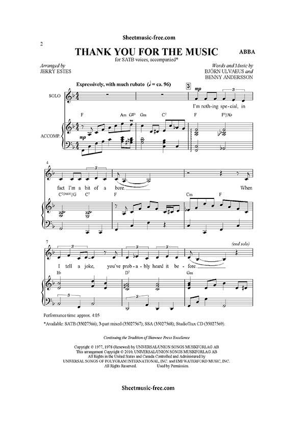 Thank You For The Music Sheet Music ABBA pdf Download | Musik
