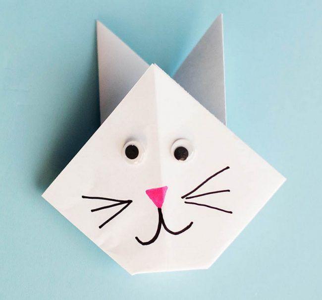basteln kindern origami katze hase papier bemalen. Black Bedroom Furniture Sets. Home Design Ideas