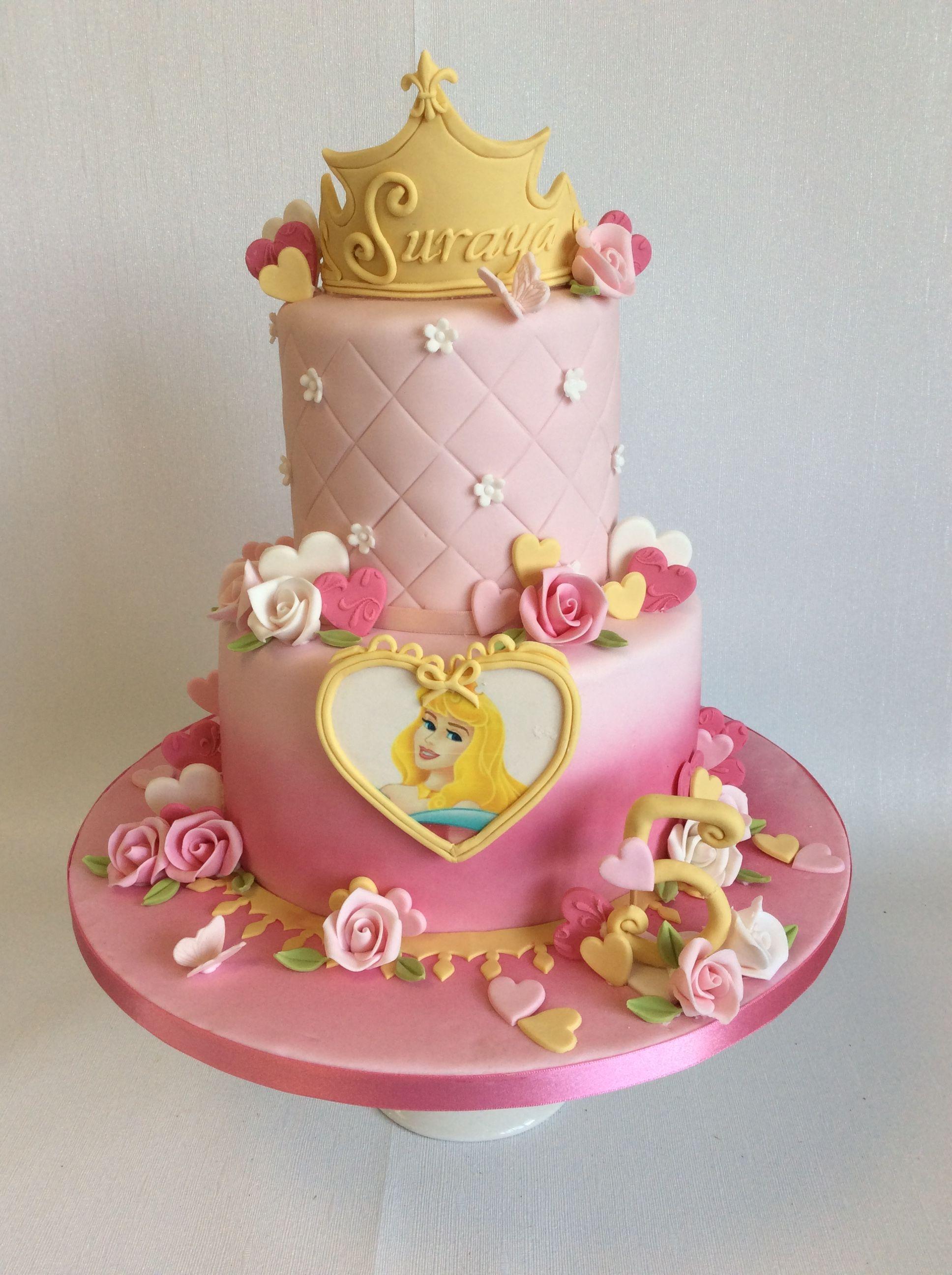 Fantastic 2 Tier Aurora Theme Birthday Cake With Images Disney Princess Funny Birthday Cards Online Inifofree Goldxyz