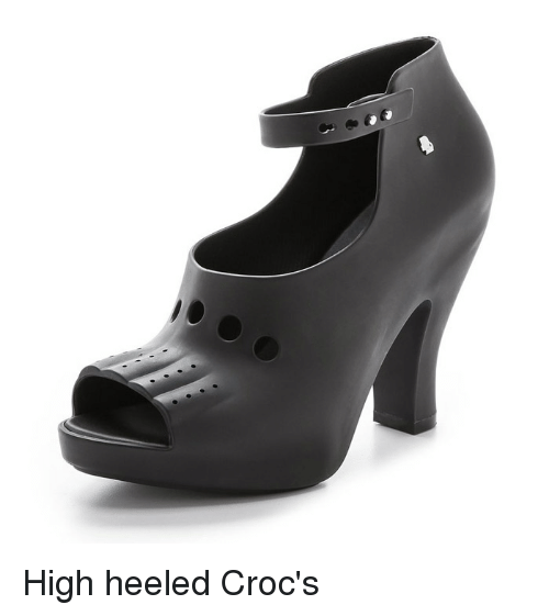 High Heeled Crocs Meme On Black Peep Toe Pumps Shoes Women Heels High Heel Crocs
