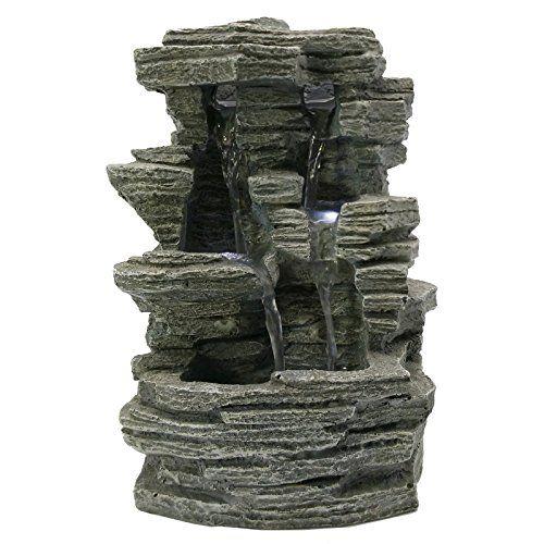 Noir 31 x 31 x 42 cm ZenLight Fontaine Zenitude Polyr/ésine