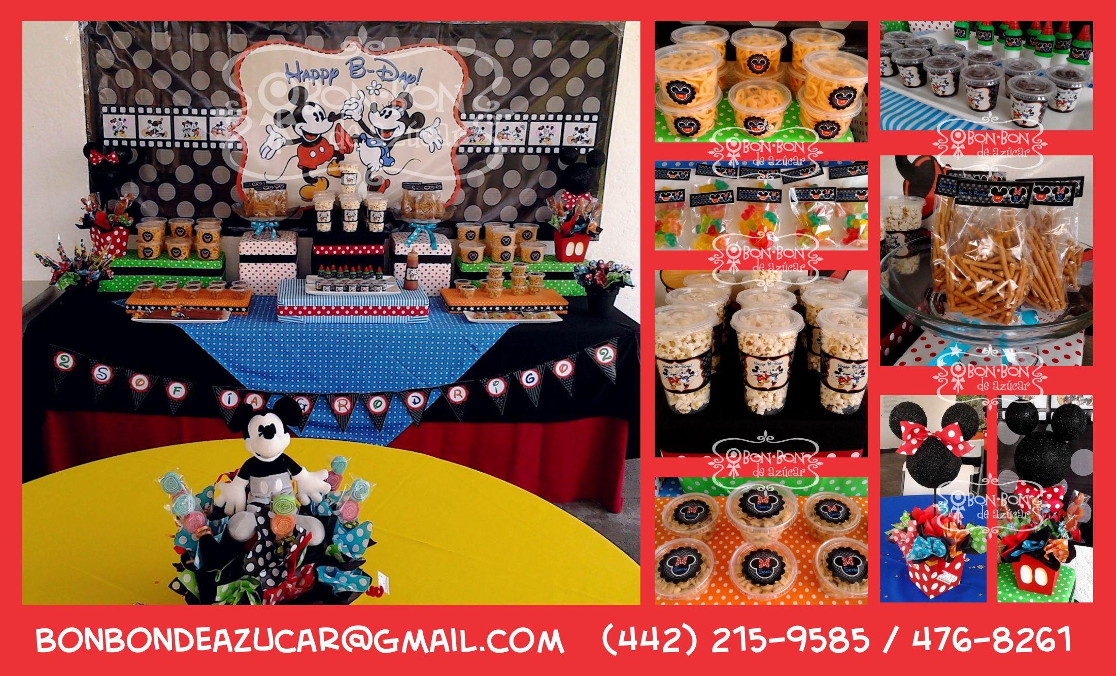 Mesa de dulces y snacks con tema de mickey y minnie para - Mesa dulce infantil ...