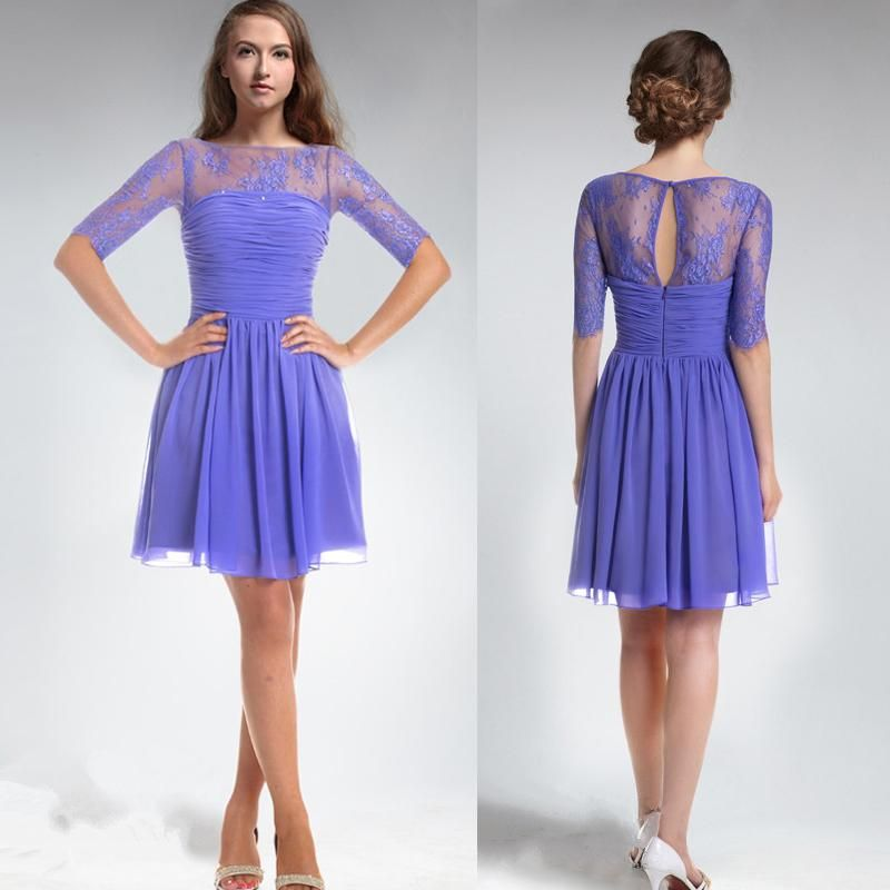 Red And White Bridesmaid Dresses Custom Made Fashion Purple Chiffon ...