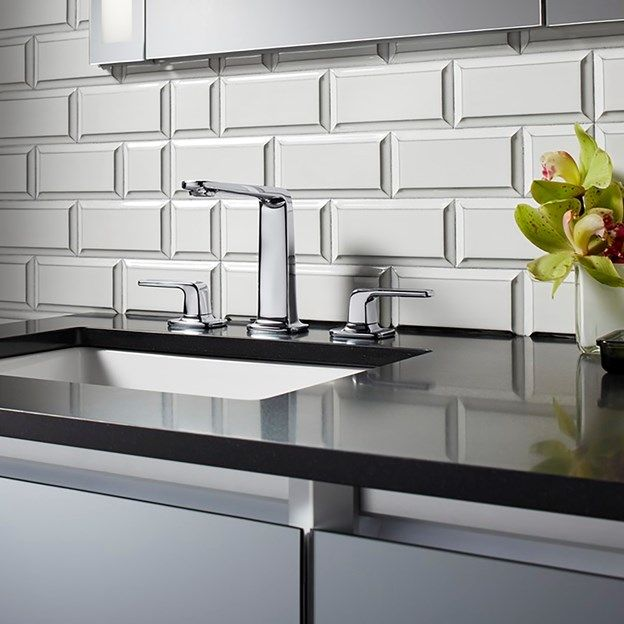 Backsplash Is Savoy Anna Bevel Rectangle And Square In Ricepaper