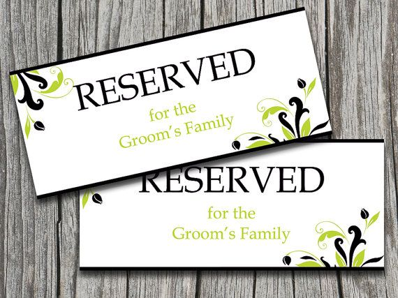 Wedding Reserved Sign Template Black Lime Green  - microsoft word sign template