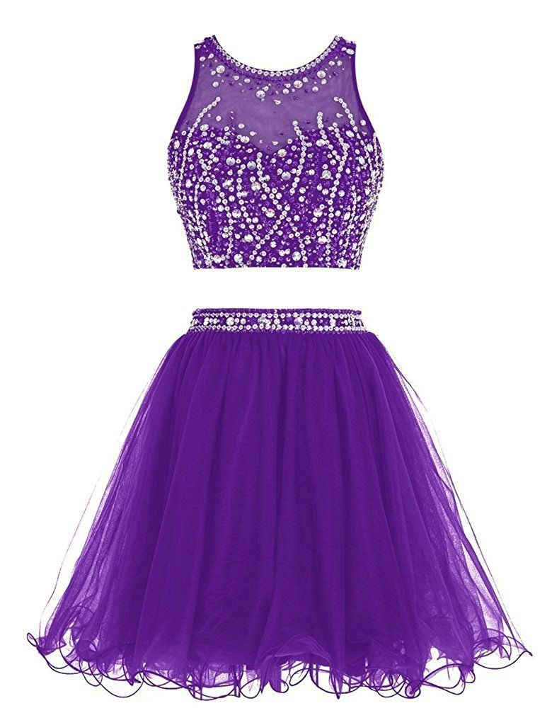 Apxpf womens short two pieces organza beaded cocktail party apxpf womens short two pieces organza beaded cocktail party bridesmaid dress purple us26 ombrellifo Choice Image