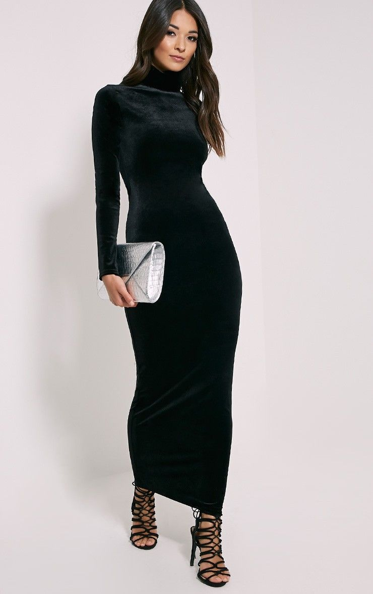 f846fdc57 Cindy Black Turtle Neck Velvet Maxi Dress | SEXY THINGS | Turtle ...