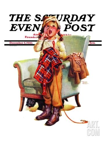 """""""Here Boy!,"""" Saturday Evening Post Cover, December 5, 1936 Giclee Print by Frances Tipton Hunter"""