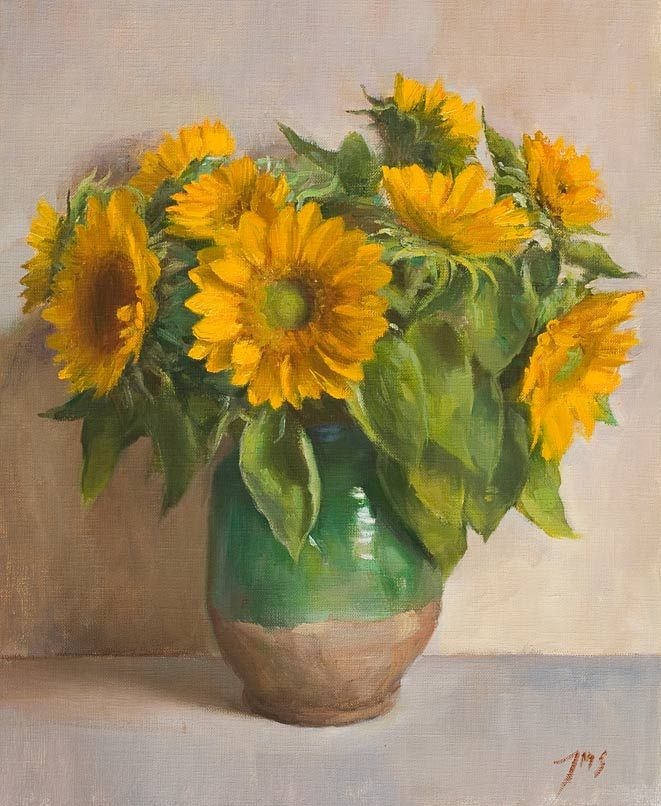 Sunflowers A Still Life Painting By British Artist Julian Merrow Smith Flower Painting Sunflower Painting Oil Painting Flowers