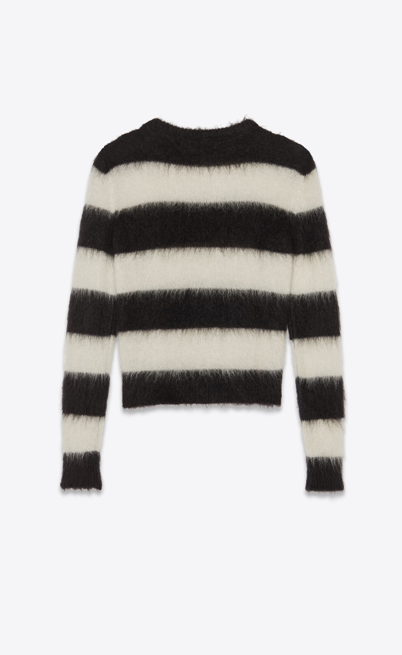 dcb3b9363a0a Yves Saint Laurent Paris Striped Sweater in Black and White Mohair