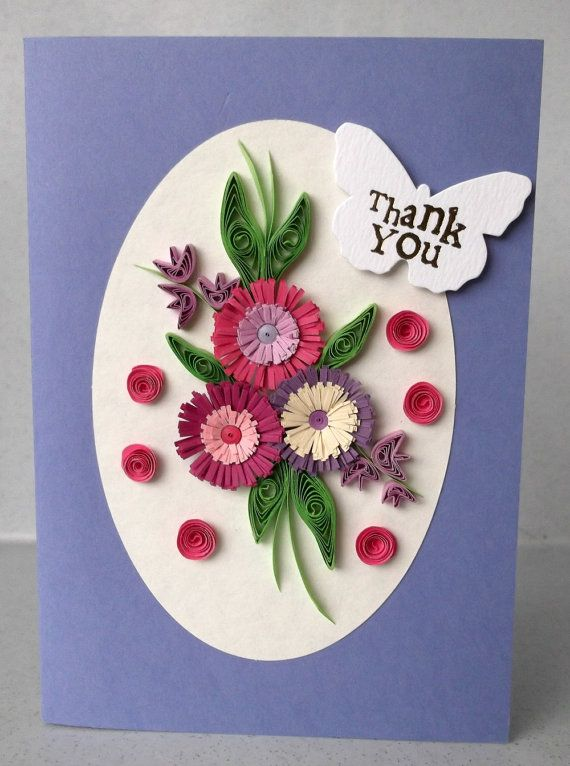 Handmade Quilled Thank You Card With Quilling Flowers Paper