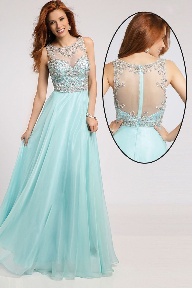2015 Bateau A-Line Floor-Length Prom Dresses With Beaded Tulle ...