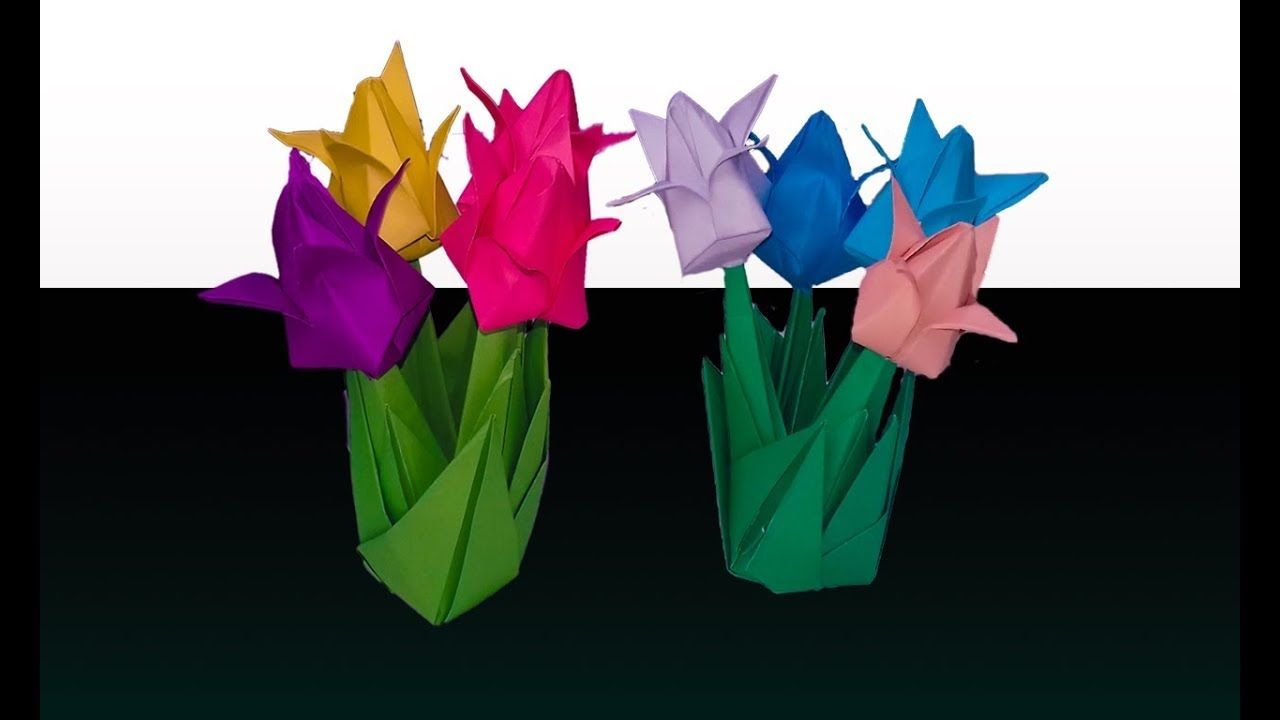 How To Make A Tulip Flower Origami Craft Work With Paper Flowers Tulip F Origami Crafts Paper Flowers Tulips Flowers