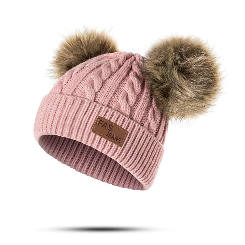 Photo of Baby Pom Beanie Winter Children Knitted Hat