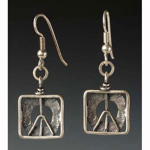 Peace In A Box Earrings by Sherri Cohen Design Metal work