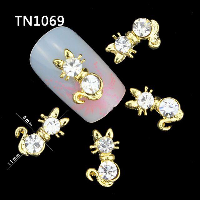 10 unids 3d nail art aleación nails art decoración encanto del oro de gato para glitter rhinestone nails TN1069