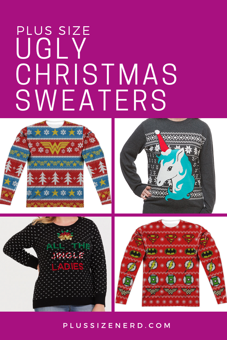 4556d044668 Geeks and nerds! Now you can rep  your favorite fandom during the holidays.  Check out these plus size ugly Christmas sweater designs.