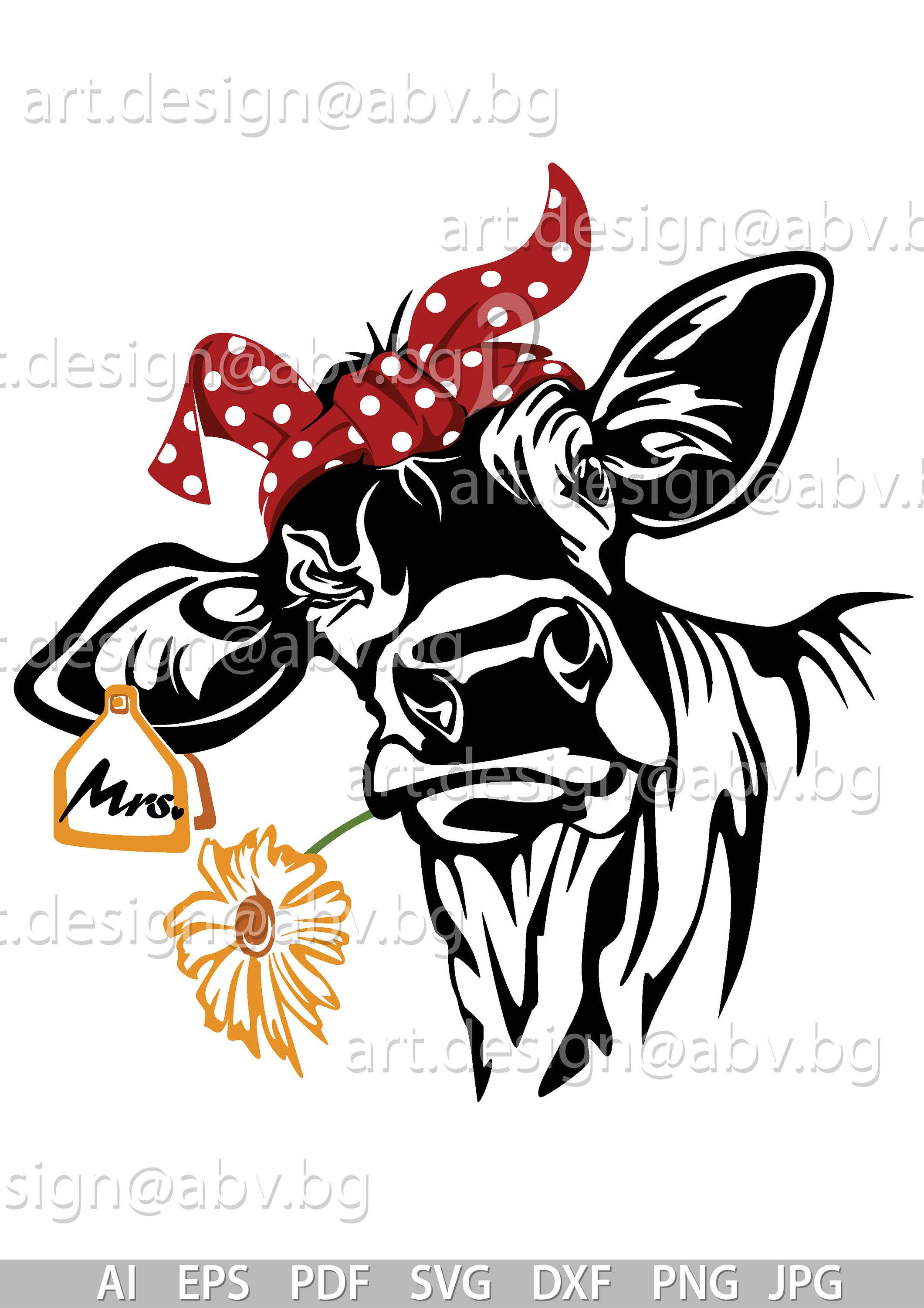 Vector COW with bandana, flower and tag to the ear, calf