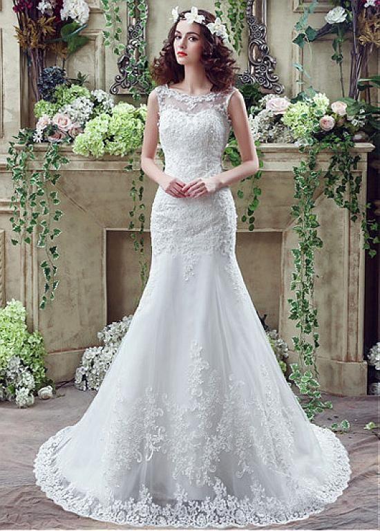 comprar En los vestidos elegantes de la boda de tul Bateau escote ...