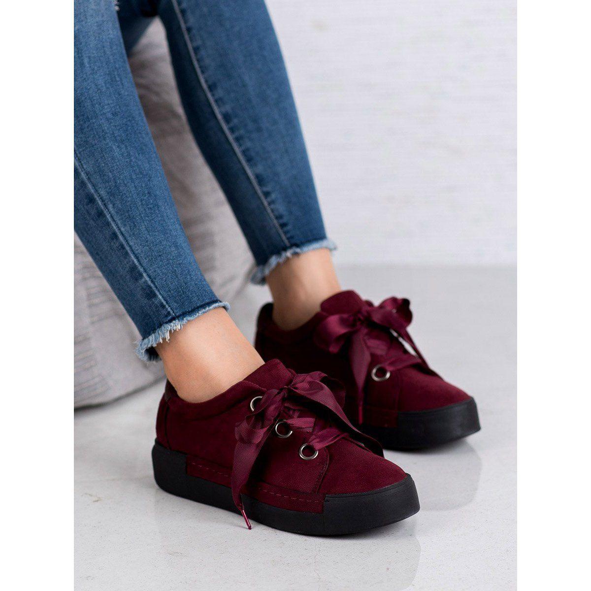 Shelovet Buty Wiazane Wstazka Czerwone Bow Sneakers Puma Sneaker Sneakers