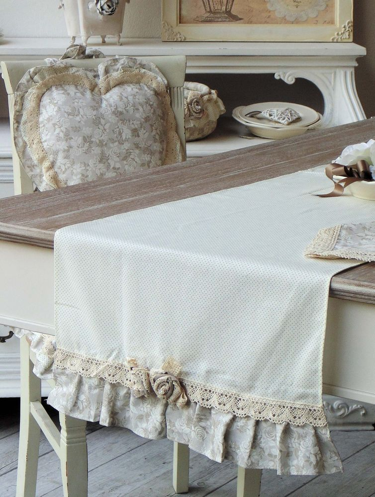 Runner shabby chic angelica home country collezione lady for Tende da cucina stile country