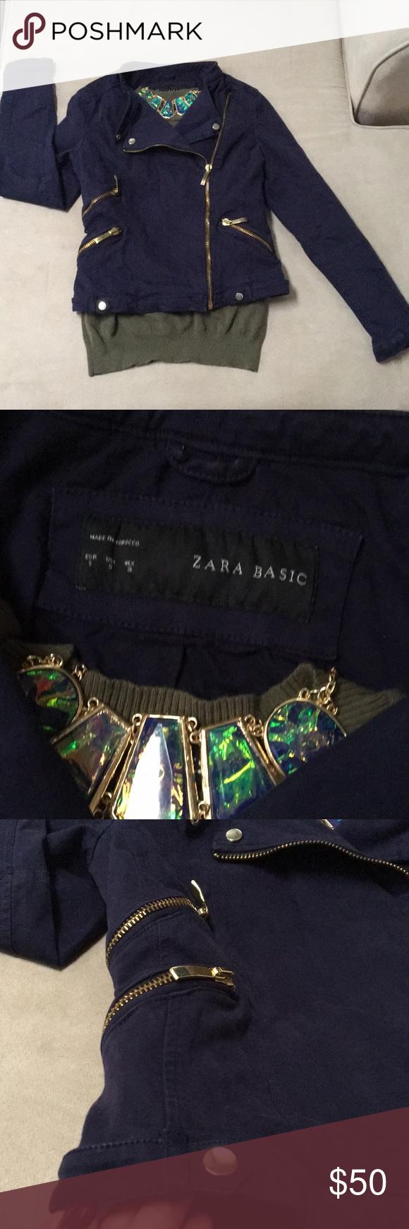 Zara biker jacket Super cool navy cotton biker jacket with