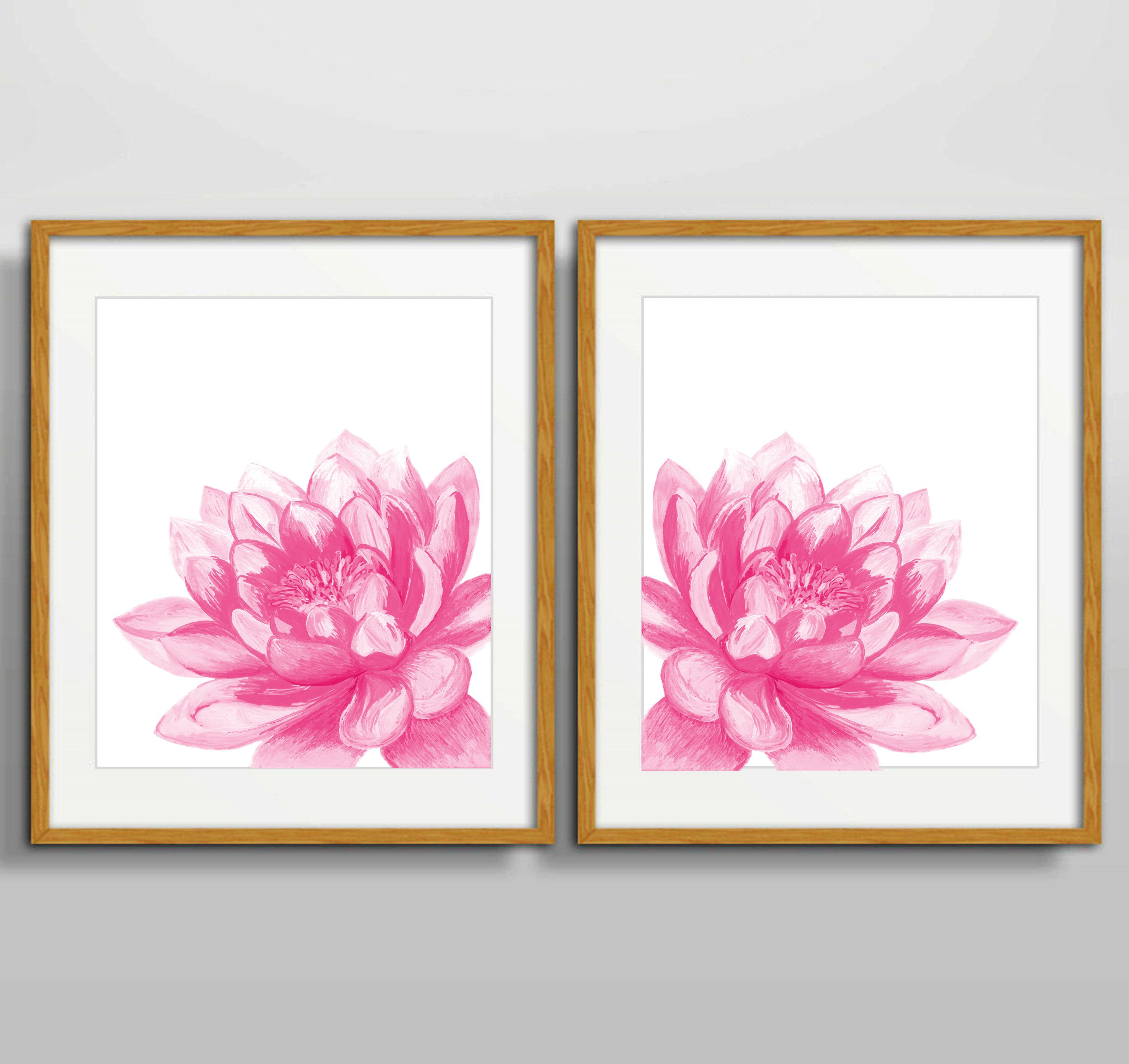 Pink Floral Art Print Sets, Floral Bedroom Decor Set Of