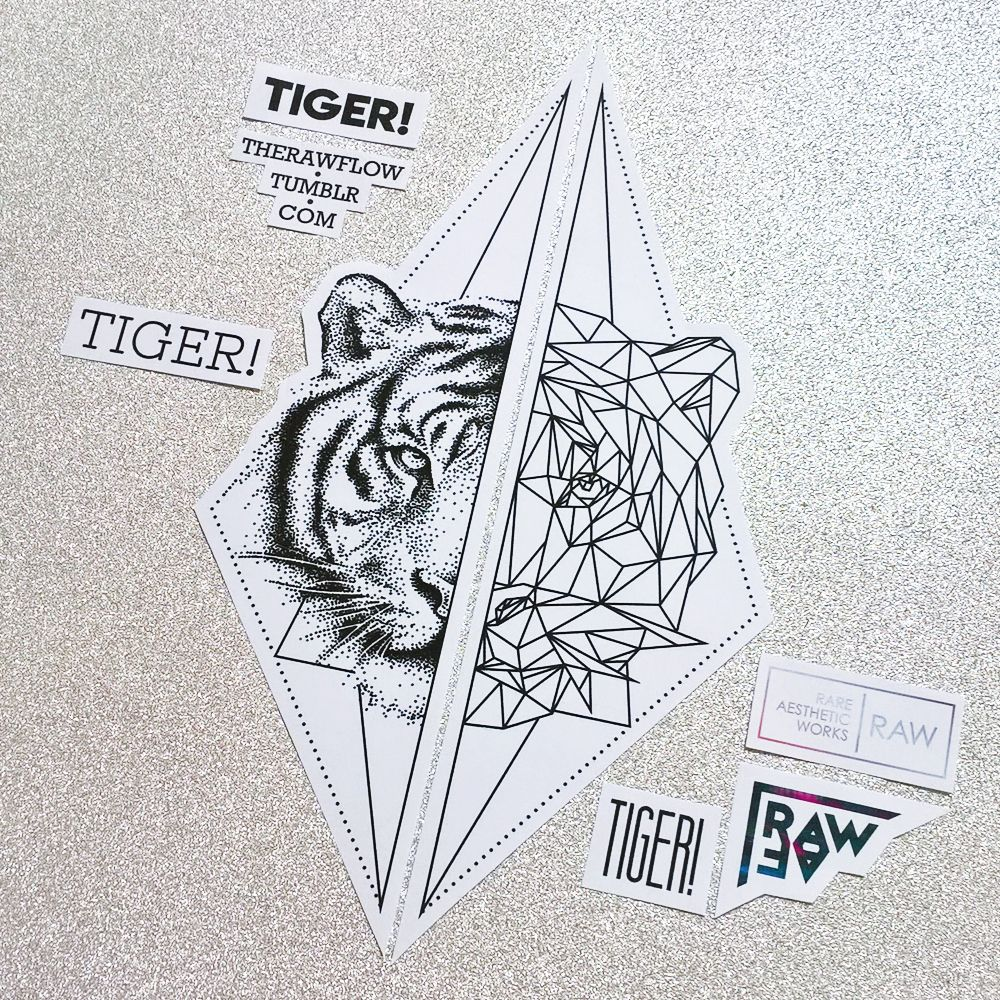 26a43f609 Dotwork geometric tiger matching tattoos for feet or forearm - limited  design, only one download available at skinque.com