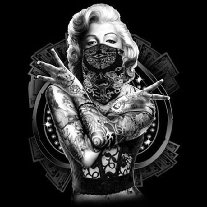 Marilyn Monroe Sexy Outlaw Gangster Tattoo Bandana ...