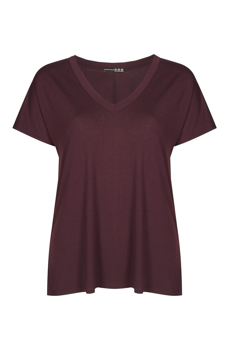 Primark - T-shirt costura atrás decote em V ameixa 6€
