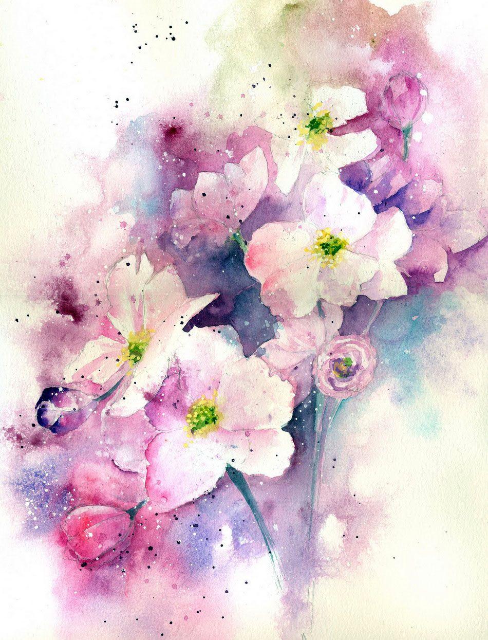 Пиши, акварельные картинки цветы