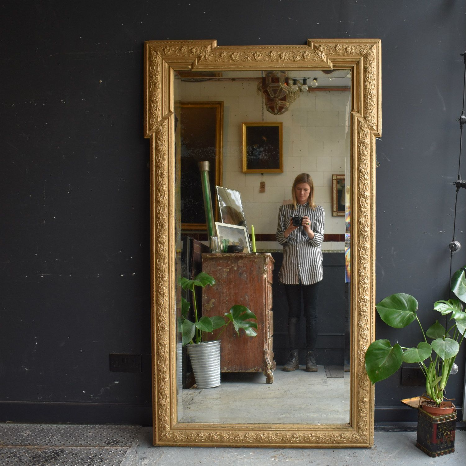Large 19th Century Floor Standing Mirror