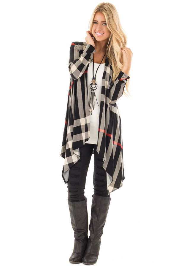 Heather Grey Ribbed Cold Shoulder Long Sleeve Top | Red plaid ...