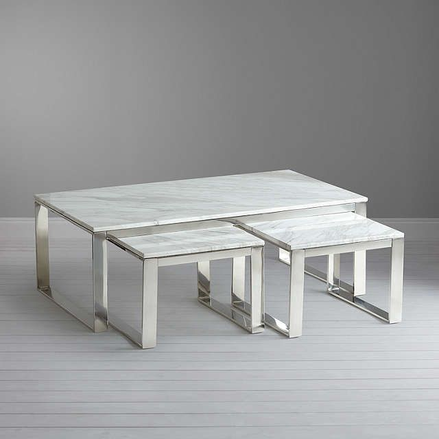 BuyJohn Lewis Frost Marble Coffee Table and Pair of Side Tables