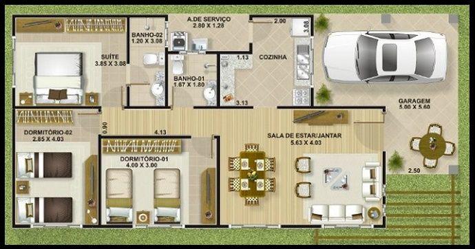 Casa peque a casa pinterest casas peque as peque os for Modelo de casa procrear lujan 3 dormitorios