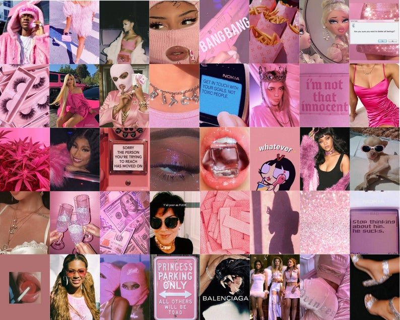 Pink Baddie Aesthetic Wall Collage Kit Digital Aesthetic Collage Wall Collage Photo Wall Collage