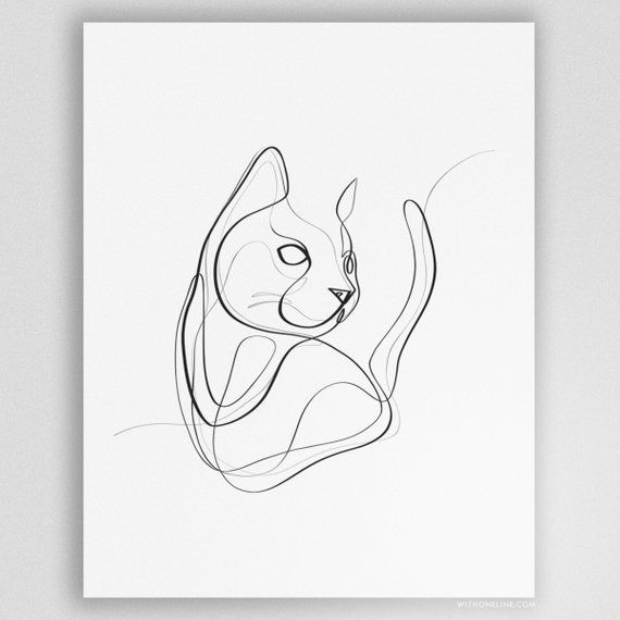 Gift for Cat Lovers, Cat Mom Gift, Cat Lover Gift, Black Cat Art Print, Minimal Line Art, Unique Cat Gifts, Unique Cat Portrait #geometriclineart
