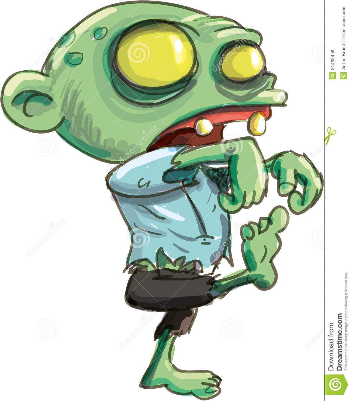 Cartoon Illustration Of Cute Green Zombie Zombie Illustration Cartoon Illustration Cartoon Character Design