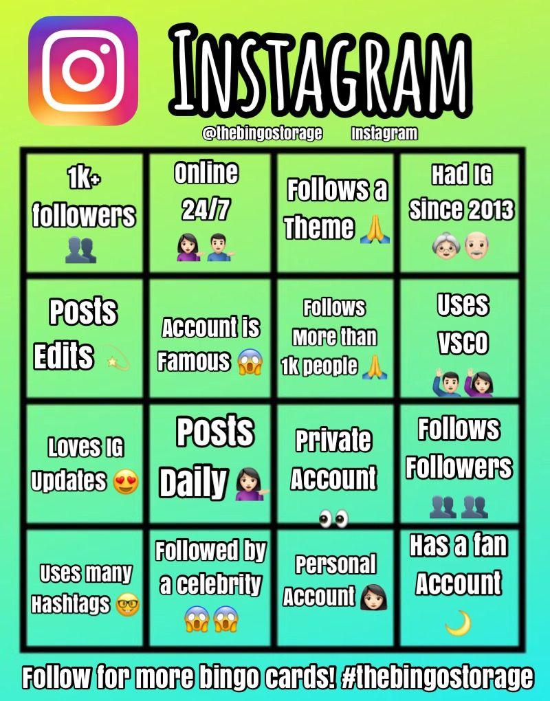 Instagram Bingo Card Follow On Ig Thebingostorage Story Bingo