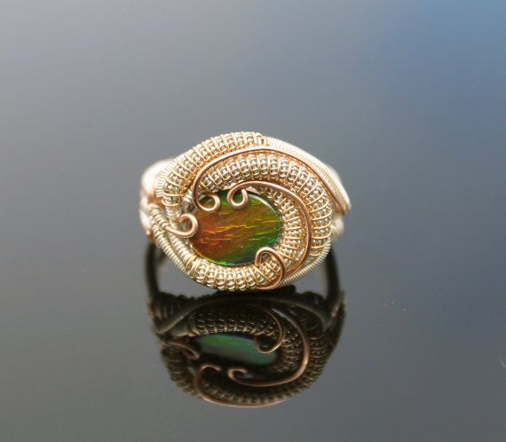 Ammolite rose gold and silver wire wrapped ring heady wrap ring