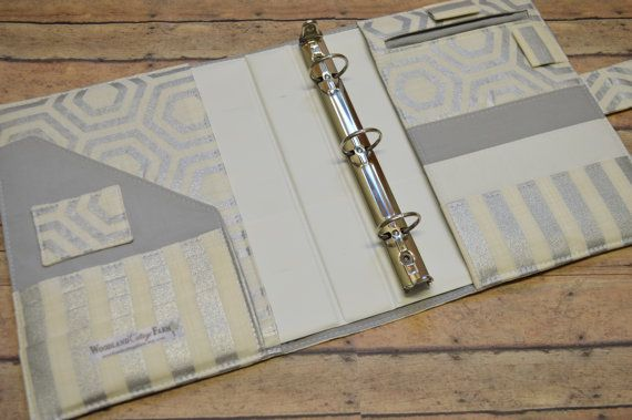 3 Ring Binder Cover - in Heavy Metal fabric - f2 Binder inserts