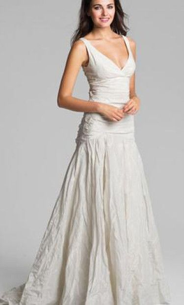 Nicole miller crinkle fit and flare v neck wedding dress   Nicole ...